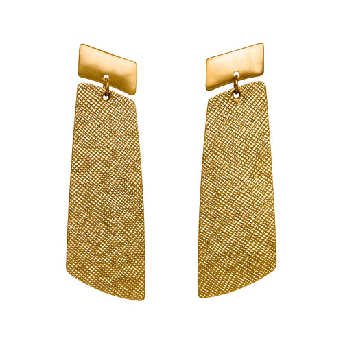 Gold Leaf Gem Drop Statement Leather Earrings | Nickel and Suede