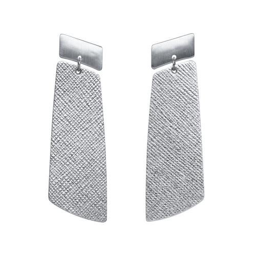 Silver Leaf Gem Drop Statement Leather Earrings | Nickel and Suede