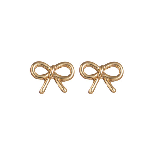 Gold Bow Stud Earring   Nickel and Suede