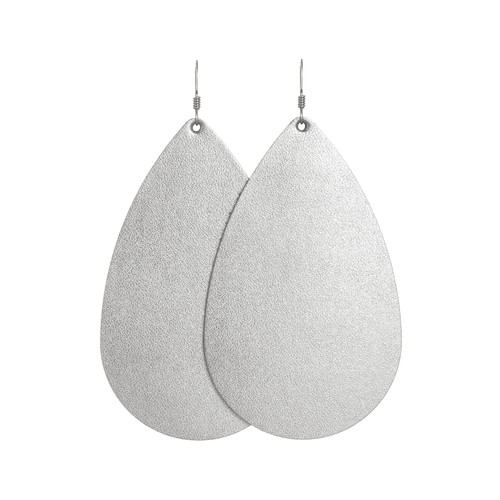 Silver Satin Leather Earrings | Nickel and Suede