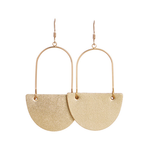 Gold Satin Isla Leather Earrings   Nickel and Suede