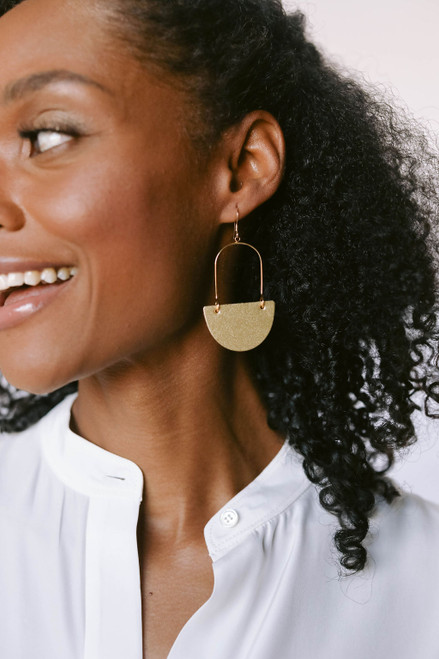 Gold Satin Isla Leather Earrings | Nickel and Suede