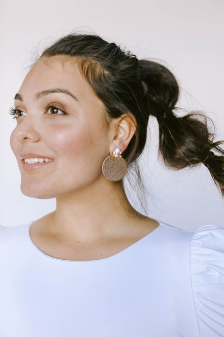 Rosé Deco Disc Leather Earrings | Nickel and Suede