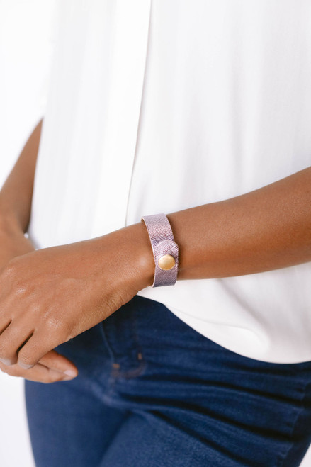 Jingle Bells Thin Leather Cuff   Nickel and Suede