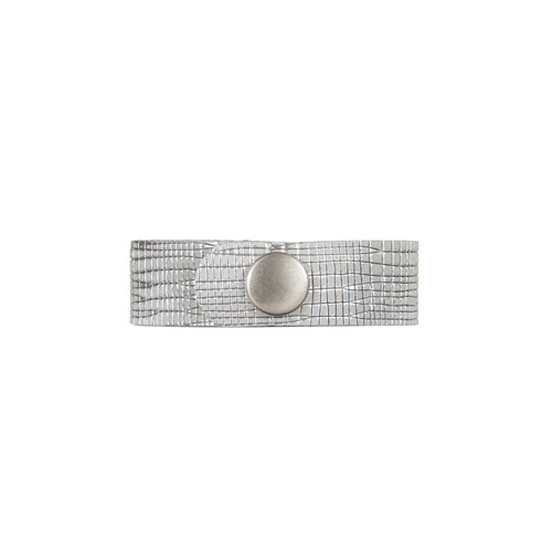 Moonstone Trellis Thin Leather Cuff | Nickel and Suede
