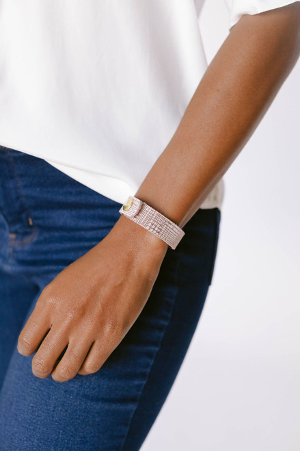 Rose Trellis Thin Leather Cuff   Nickel and Suede