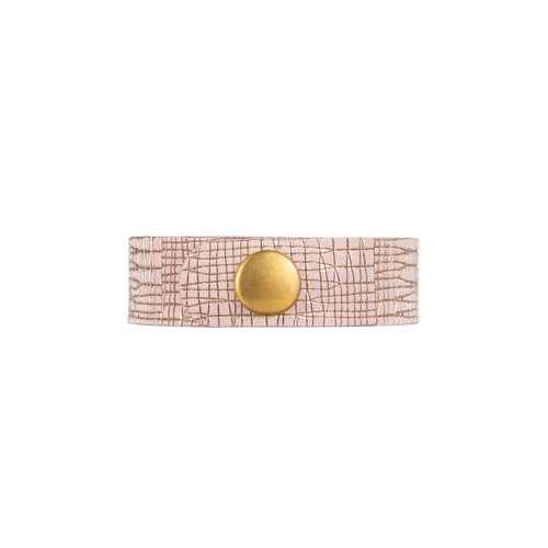 Rose Trellis Thin Leather Cuff | Nickel and Suede