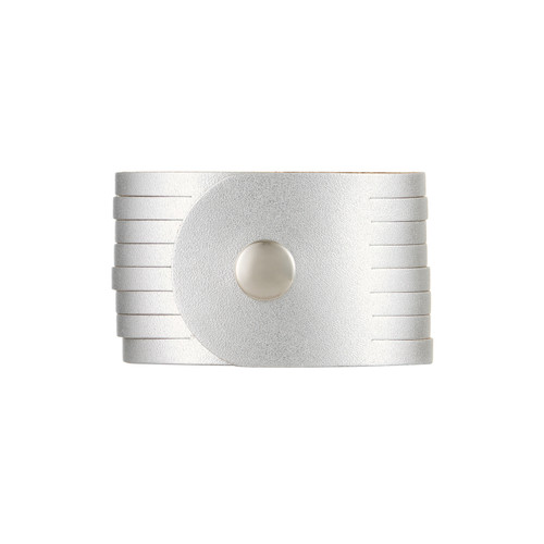 Silver Satin Slit Leather Cuff | Nickel and Suede