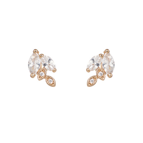 Marquise Cluster Stud   Nickel and Suede
