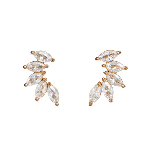 Marquise Stacked Ear Climber | Nickel and Suede