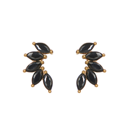 Black Marquise Stacked Ear Climber   Nickel and Suede