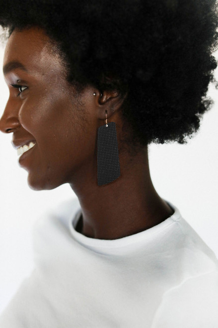 Afterglow Gem Leather Earrings | Nickel and Suede