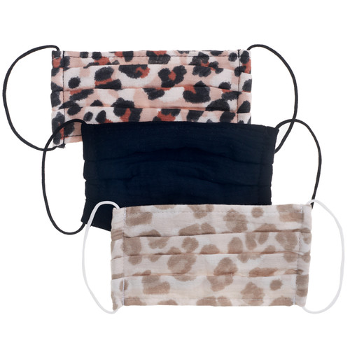Leopard Cotton Face Masks- Set of 3   Nickel and Suede