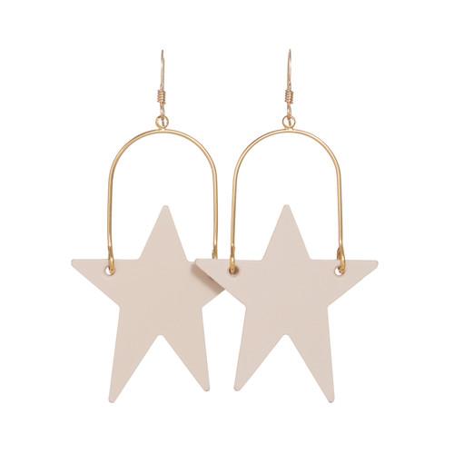 Soft Sand Superstar Hoop Leather Earrings | Nickel and Suede