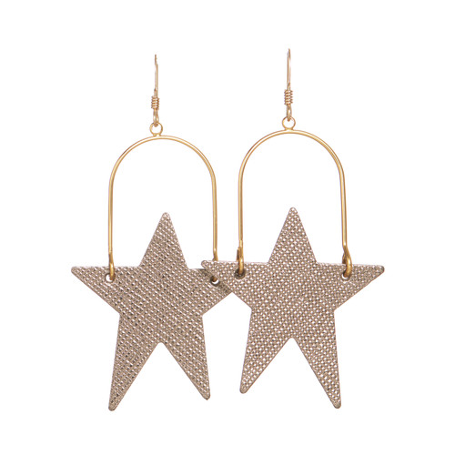 Bronze Leaf Superstar Hoop Leather Earrings | Nickel and Suede