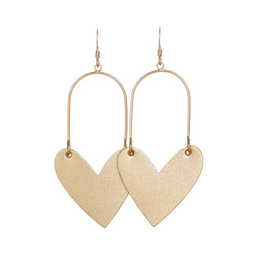 Gold Satin Sweetheart Hoop Leather Earrings | Nickel and Suede