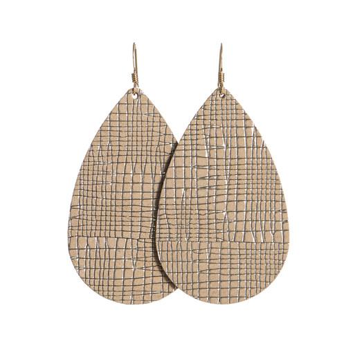 Truffle Trellis Teardrop Leather Earrings   Nickel and Suede