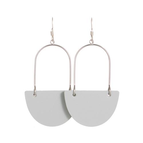 Select Gray Isla Hoop Leather Earrings | Nickel and Suede
