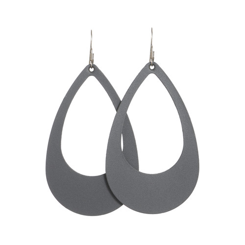 Shadow Gray Cut-Out Leather Earrings | Nickel and Suede