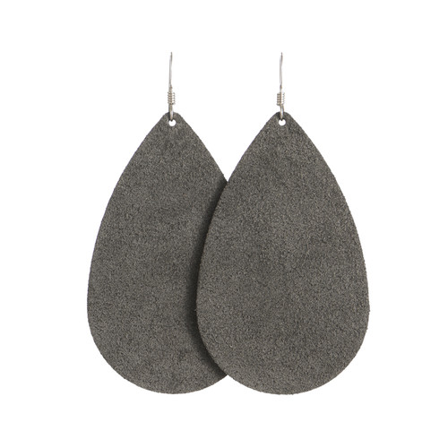 Charcoal Suede Leather Earrings | Nickel and Suede