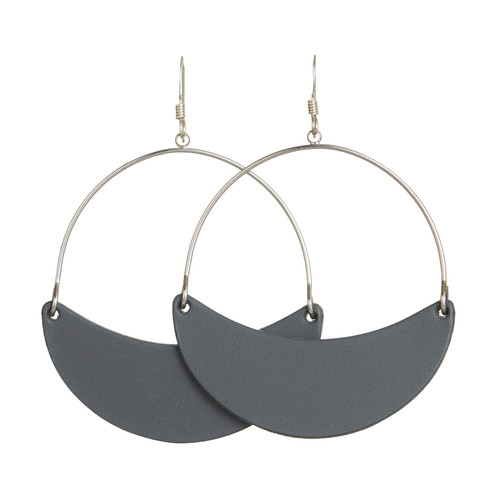 Shadow Gray Aster Crescent Hoop Leather Earrings | Nickel and Suede