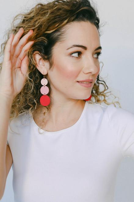 Dottie Ombre Pink Statement Leather Earrings   Nickel & Suede