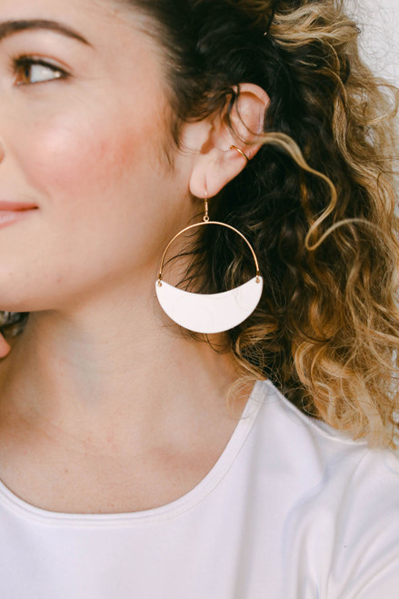 Select White Aster Crescent Hoop Leather Earrings | Nickel & Suede