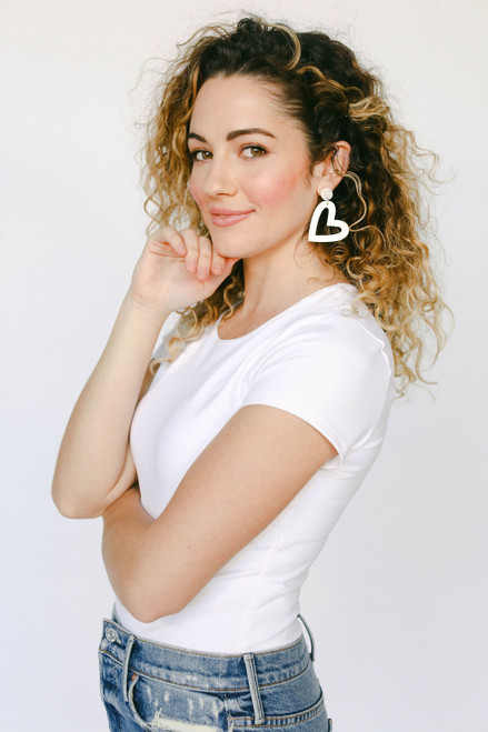 Select White Reese Leather Earrings | Nickel and Suede