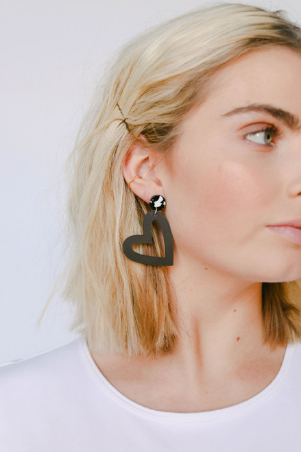 Select Black Reese Leather Earrings | Nickel & Suede