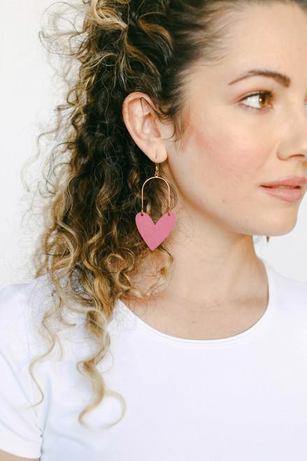 Taffeta Pink Sweetheart Hoop  Leather Earrings | Nickel & Suede