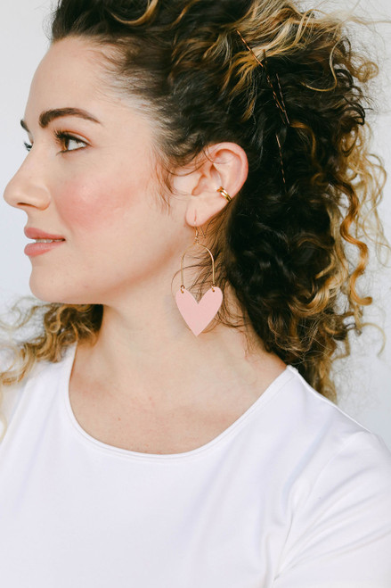 Pink Desert Sweetheart Leather Earrings | Nickel & Suede