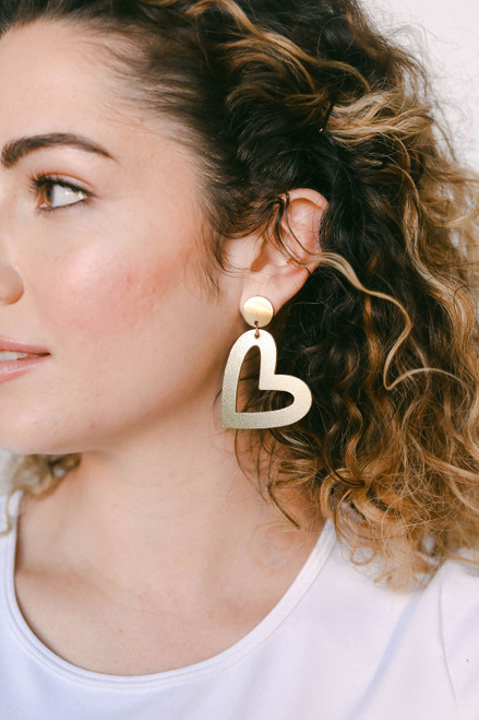 Gold Satin Reese Leather Earrings | Nickel & Suede