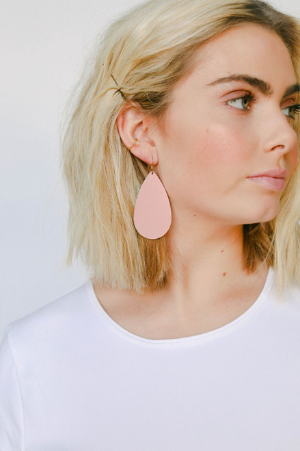 Pink Desert Leather Earrings | Nickel & Suede