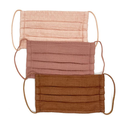 Dusty Rose Cotton Face Masks- Set of 3   Nickel and Suede