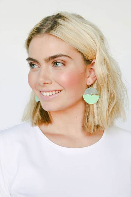 Key Lime Luna | Nickel and Suede Leather Earring