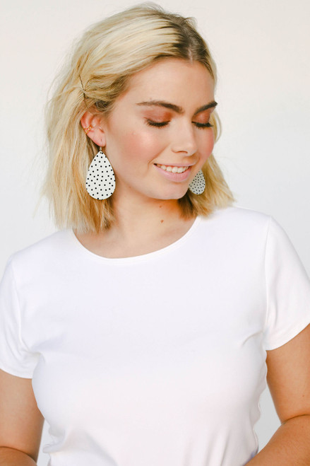 White Polka Dot Leather Earrings   Nickel & Suede