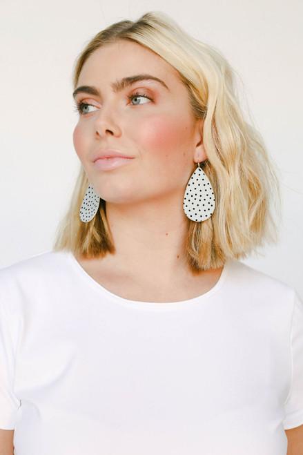 White Polka Dot Leather Earrings | Nickel & Suede