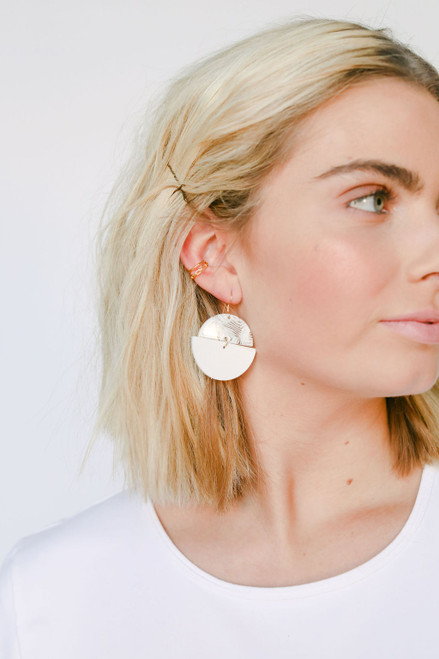 Flocked Luna Leather Earrings | Nickel and Suede