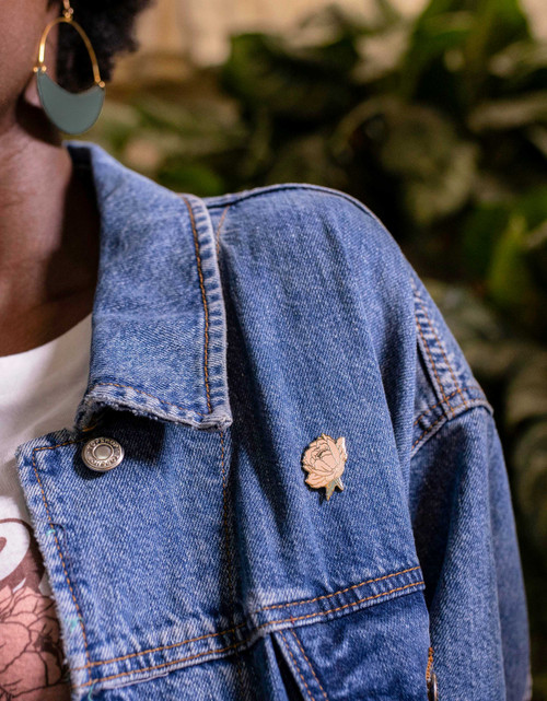 Peony Statement Pin | Nickel & Suede