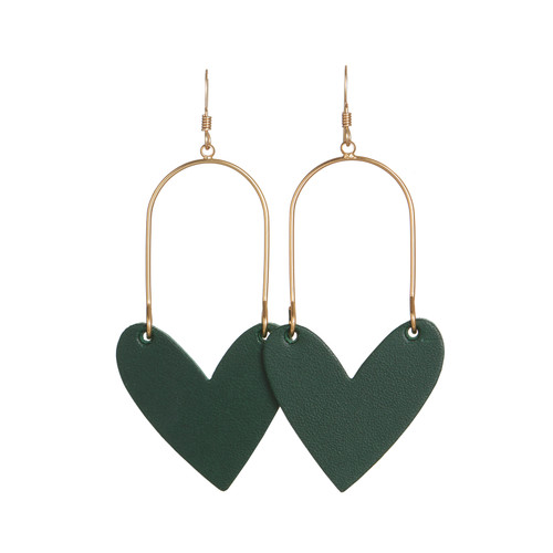 Select Green Sweetheart Hoop Leather Earrings | Nickel and Suede