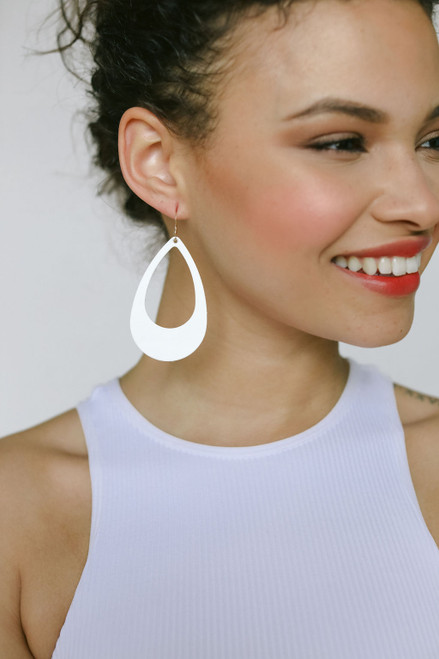 N&S Select White Cut-Out Leather Earrings