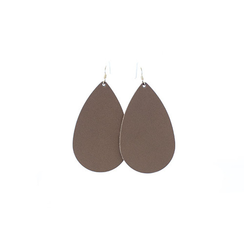 Stone Leather Earrings