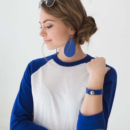 Nickel & Suede Leather Earrings | N&S Select Blue