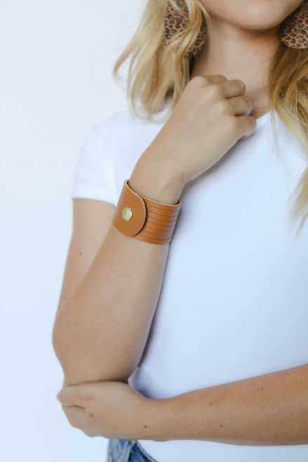 London Tan Slit Leather Cuff