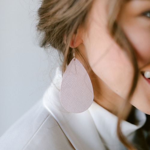 Pink Velvet Leather Earrings