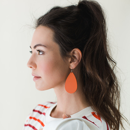 Leather Earrings | N&S Select Orange