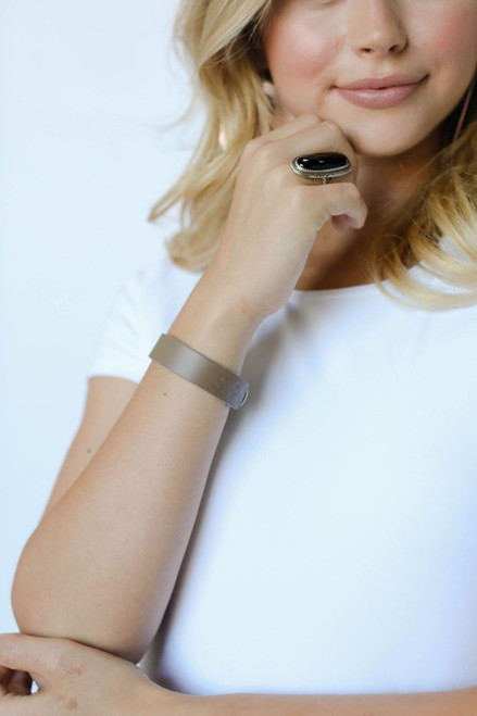 Stone Thin Leather Cuff