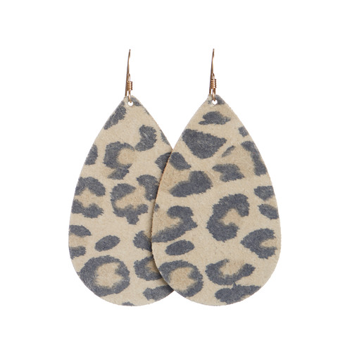 Leopard Leather Earrings   Nickel and Suede