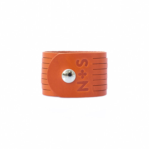 N&S Select Orange Slit Leather Cuff  Silver snap
