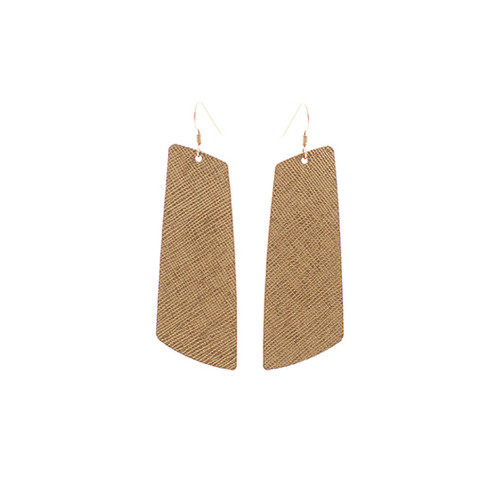 Brass Gem Leather Earrings